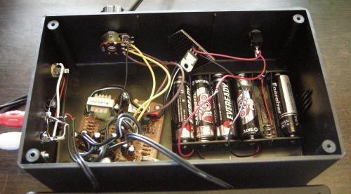 Amp internals + battery.