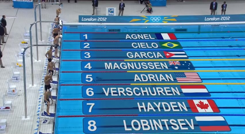 sample screencapture from olympics swimming in 2012